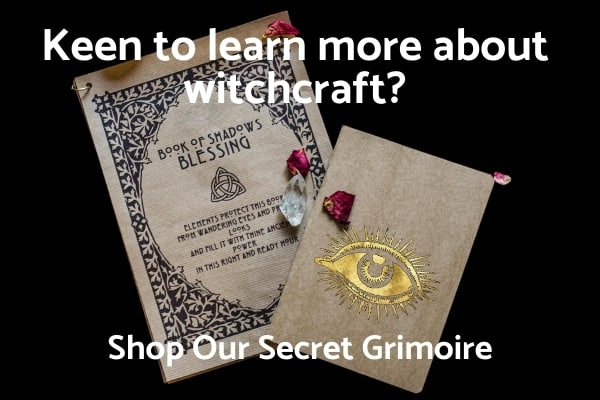 secret grimoire on black background with white text