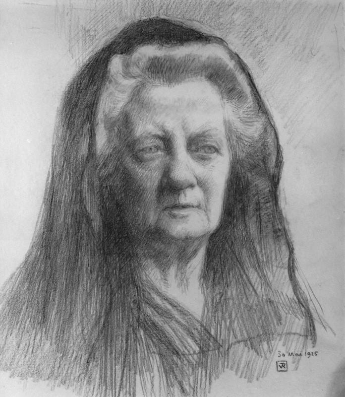 A pencil drawing of feminist Jane Ellen Harrison