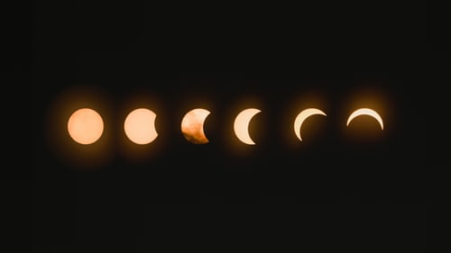 Total lunar eclipse, image showing moon in various stages from full to small crescent