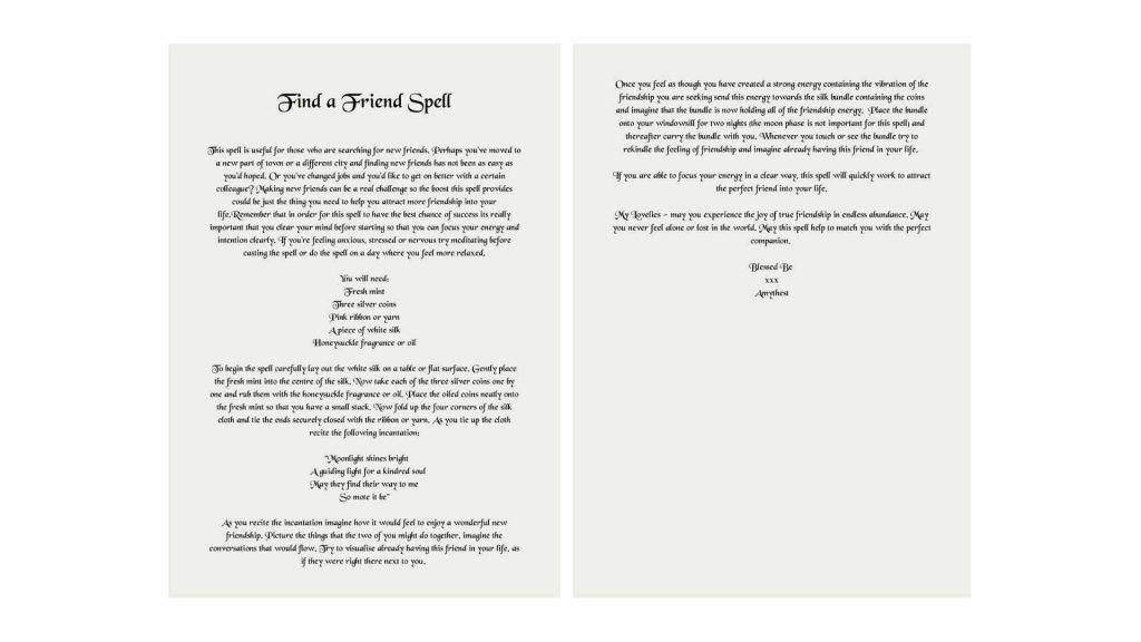 Find a friend free downloadable spell