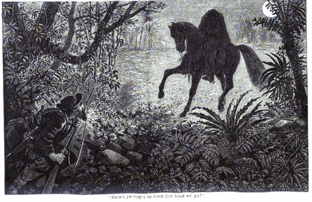 A celtic Dullahan with man hiding from the headless horseman