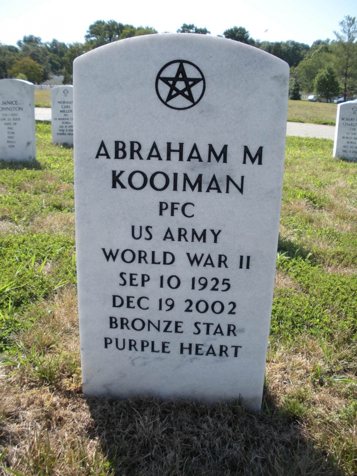 Wiccan Pentacle on the Tombstone of Abraham M Kooiman