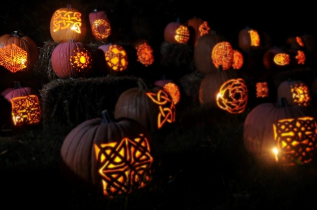 celtic protection symbols carved into pumpkins for samhain