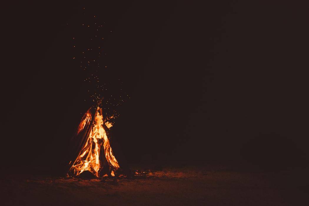 Bonfire life for samhain on a beach