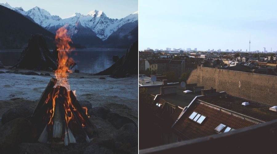 Two locations to celebrate Samhain. Mountains and lakes with bonfire or berlin rooftop