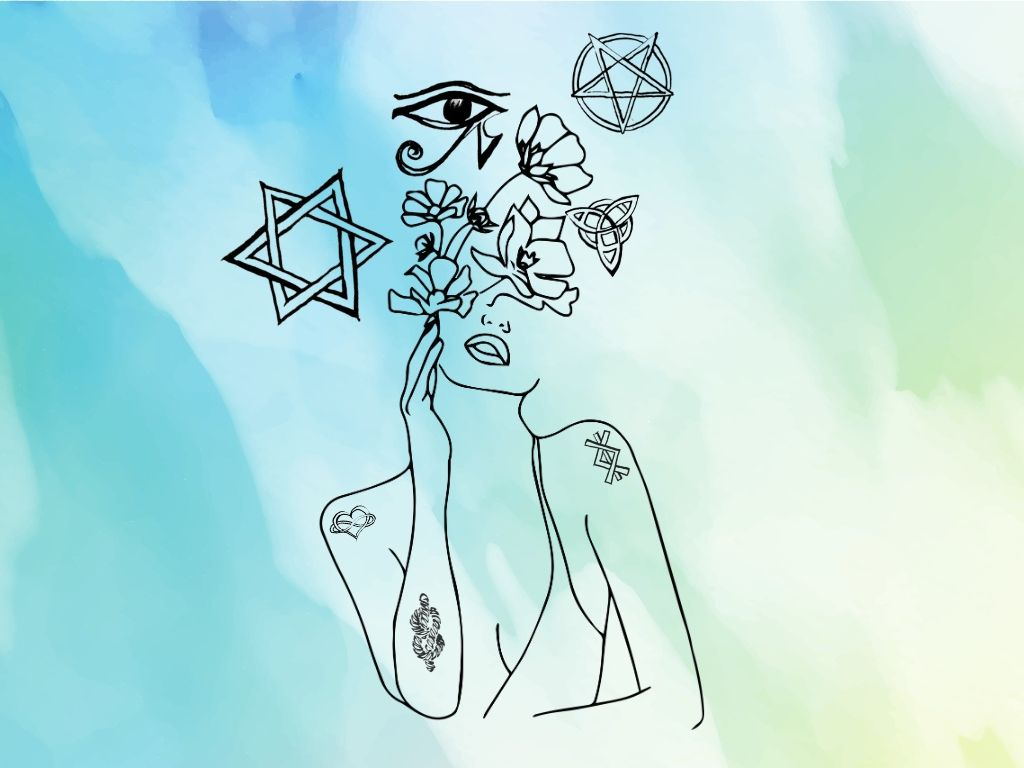 woman with flowers over her head surrounded by wiccan symbols with witchy symbols as tattoos