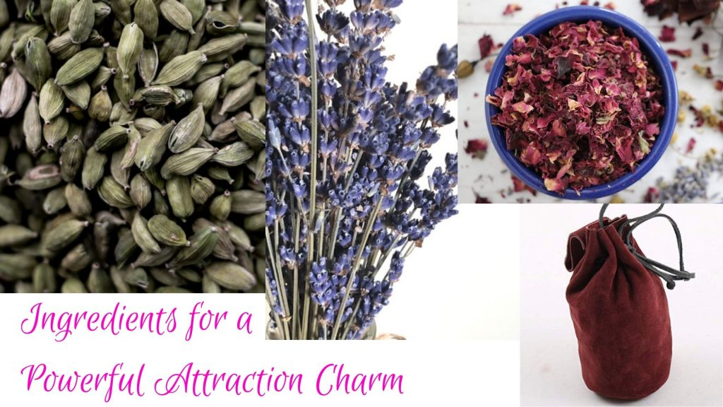 image with the ingredients for a simple love charm