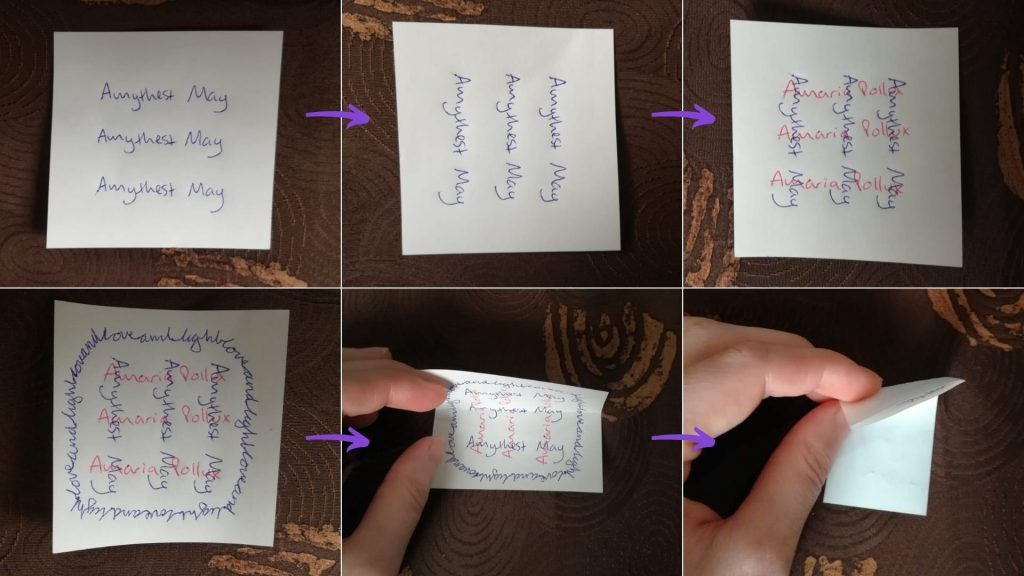 6 pictures showing how to write the petition for honey jar spell for love