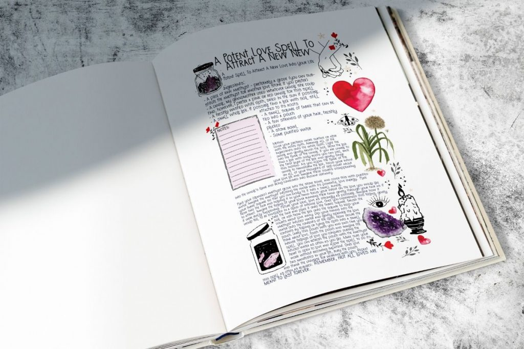 potent love spell written into a book with illustrations on a white marble benchtop