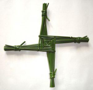 brigids cross made from green reeds