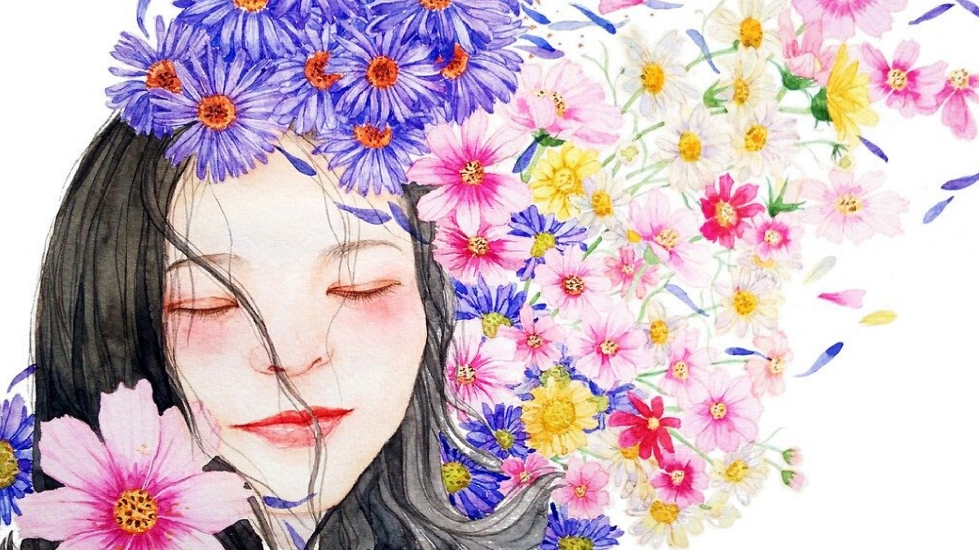 woman painted in watercolours with spring flowers around her