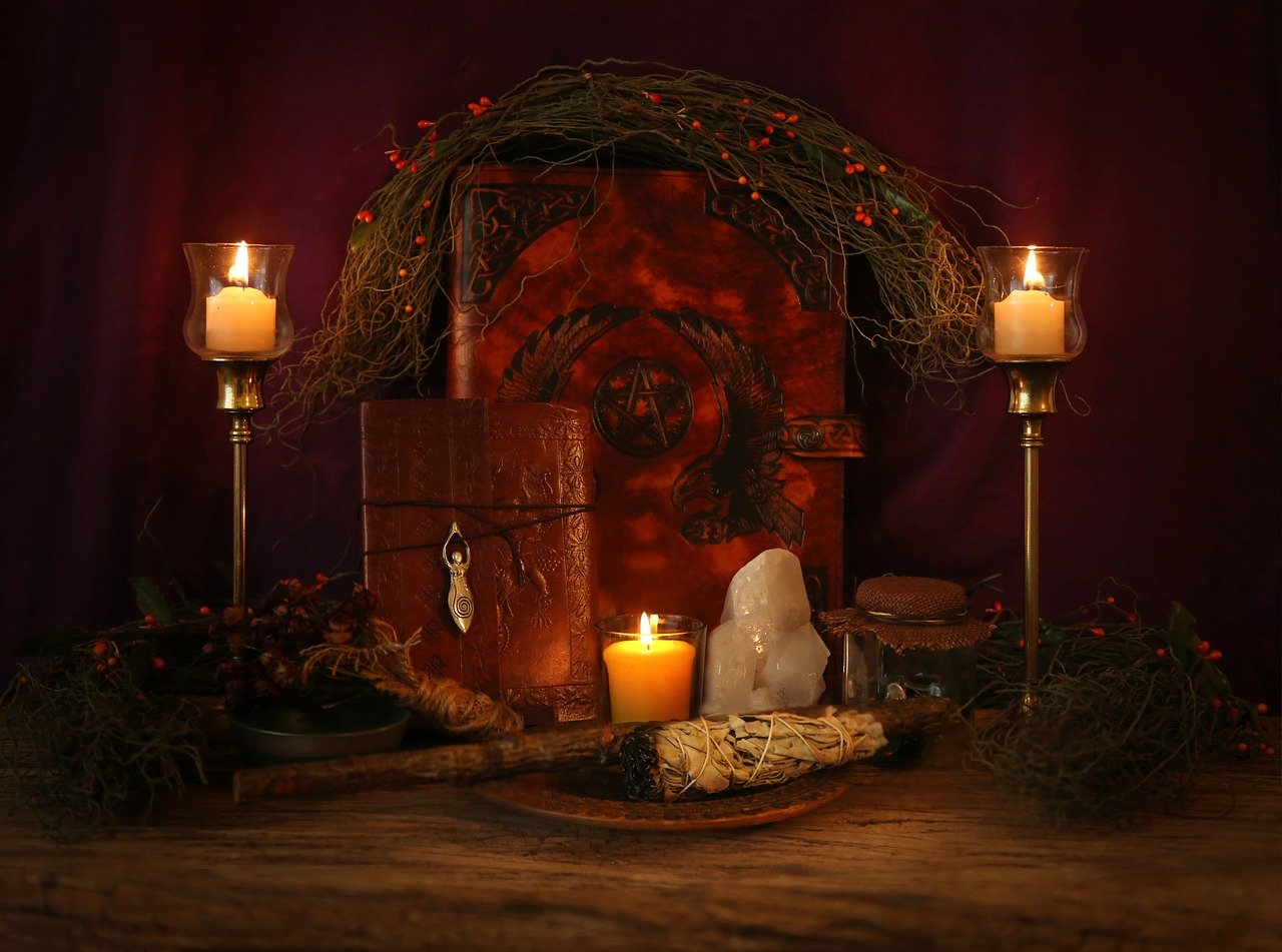 imbolc altar with candles