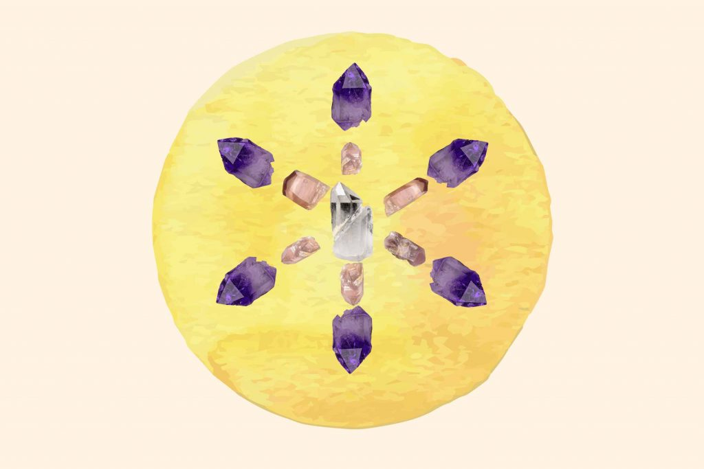 Crystals for anxiety set up in a crystal grid