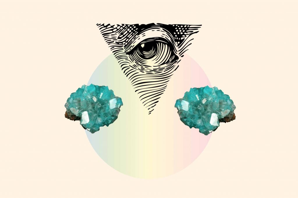 crystals for anxiety #1 aquamarine illustrated on a watercolour background with an illustration of an eye