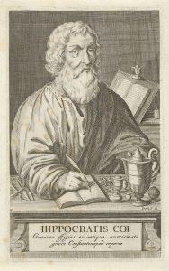 Hippocrates of Kos sitting at desk writing drawing