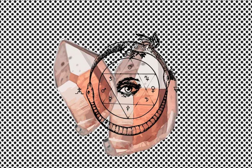 rose quartz illustrated on spotted background with pentagram and eye layered over the top