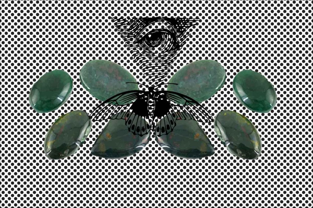 illustrated jasper with eye and butterfly as a crystal for protection