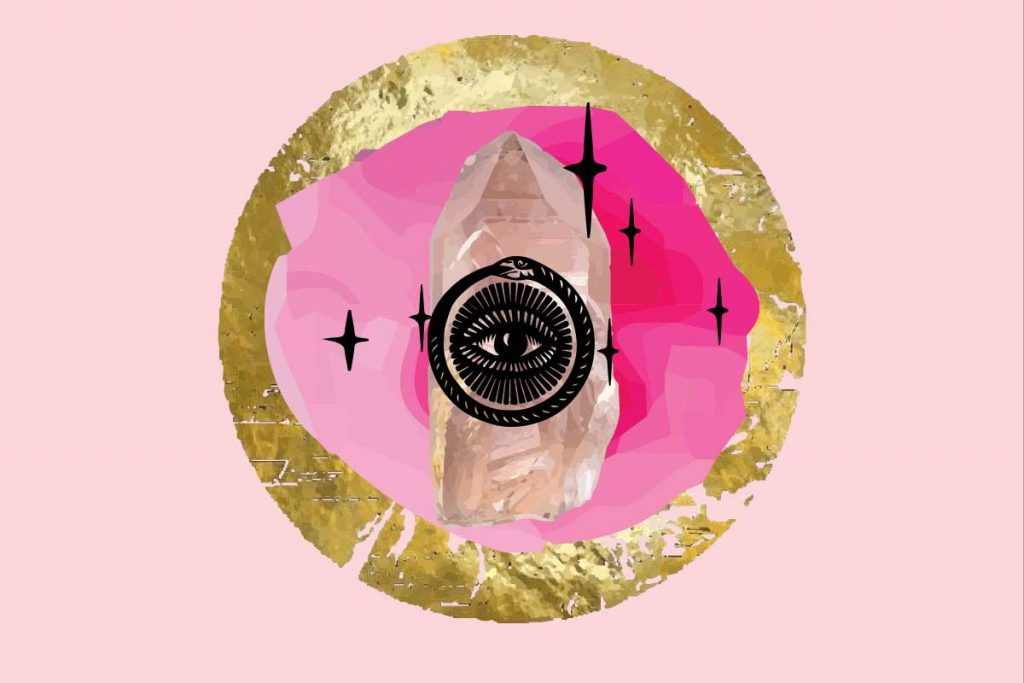 Spells using rose quartz graphic with gold circle, rose quartz and eye