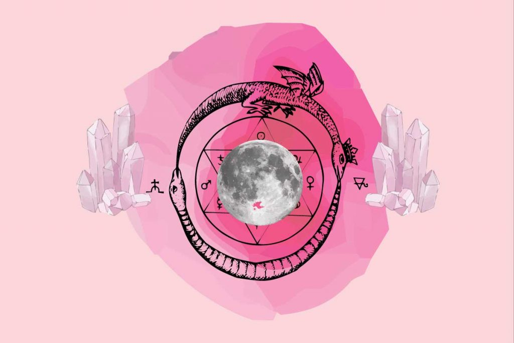 Spells using rose quartz graphic with rose quartz and the moon