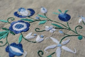 Ostara altar cloth embroidered