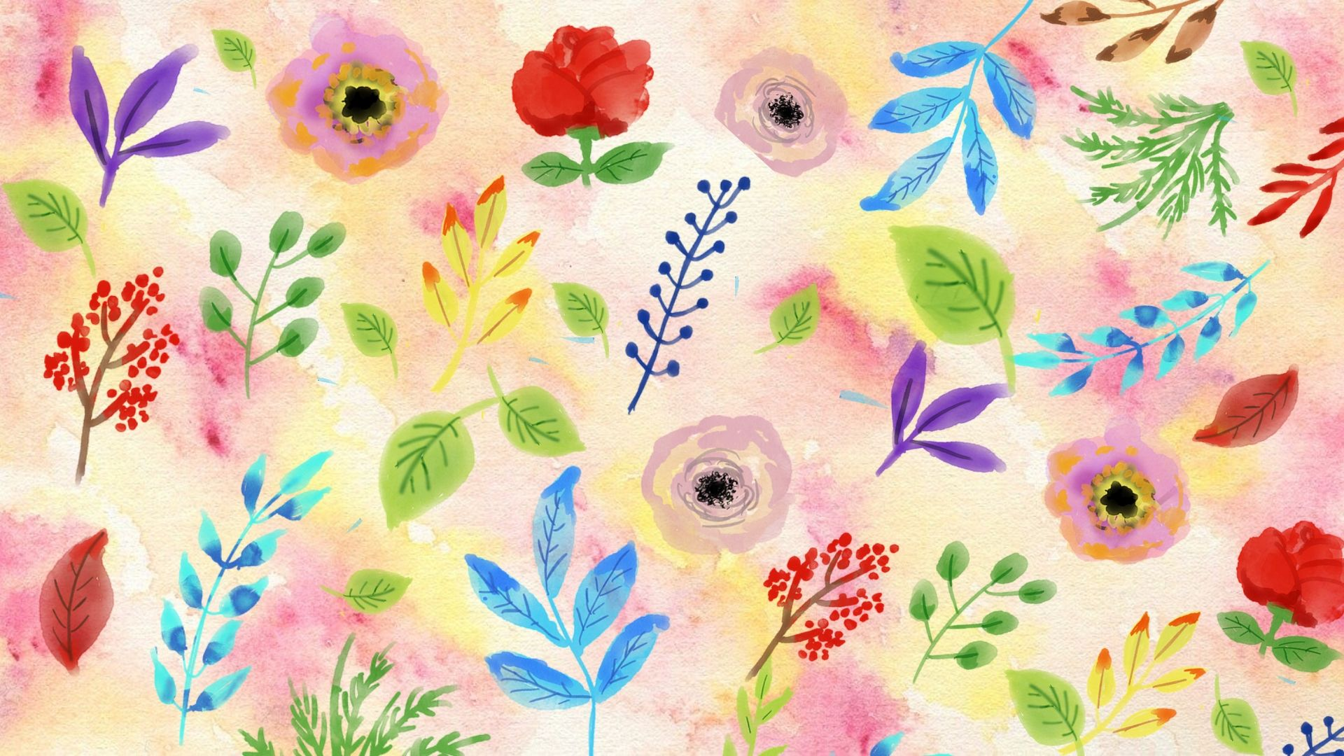 watercolour flowers and leaves on pink and yellow background