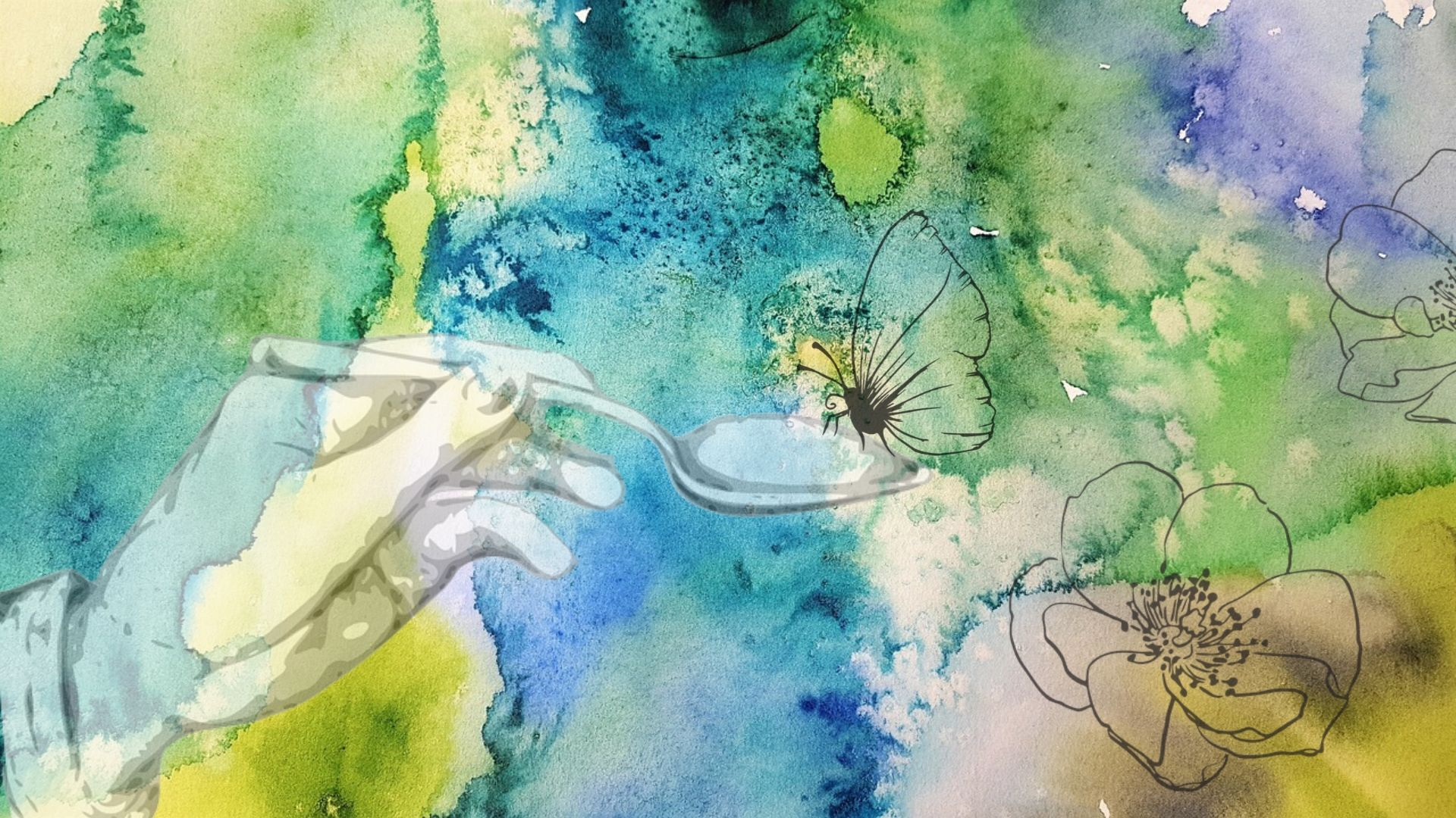 green watercolour background with butterfly, hand holding spoon and flower