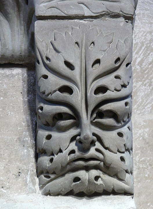 green man motif carved in stone