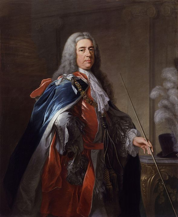 Charles FitzRoy, 2nd Duke of Grafton (d. 1757), carrying the thin white staff of the Lord Chamberlain.