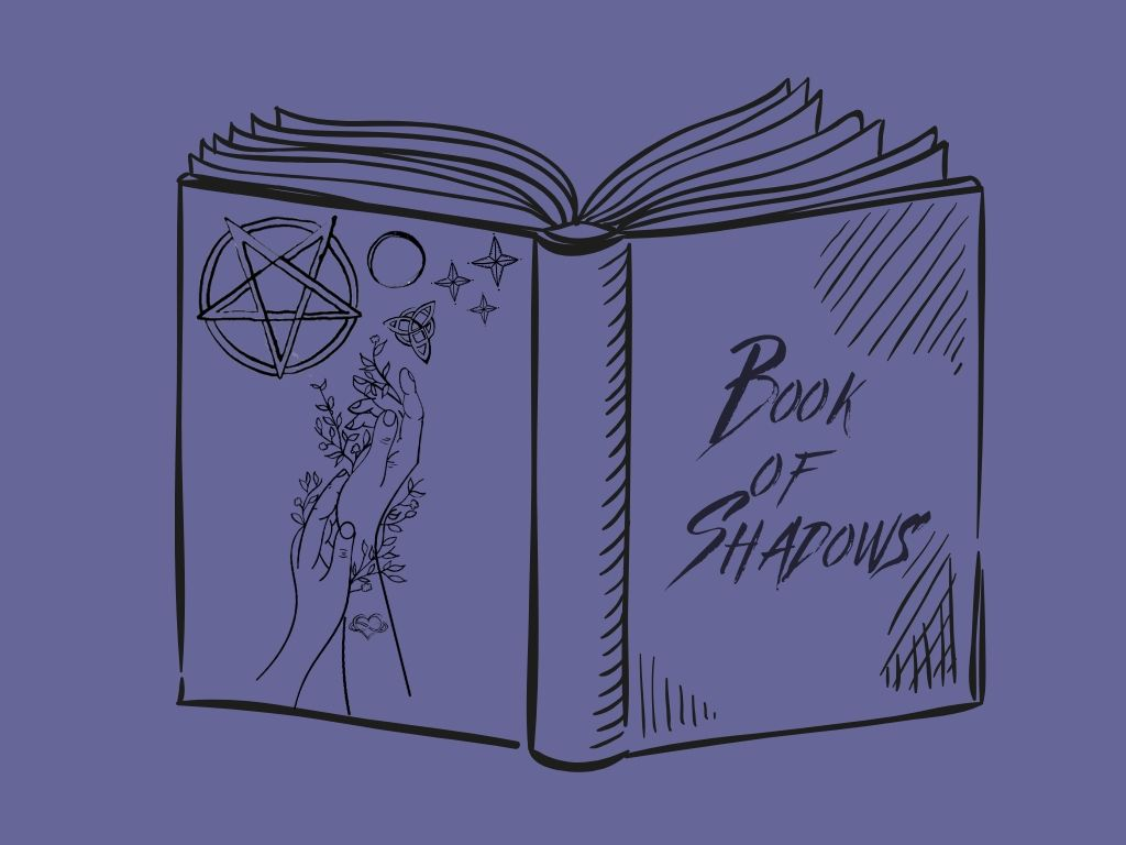 open book with book of shadows written on one side and a hand with wiccan symbols and flowers on the other side