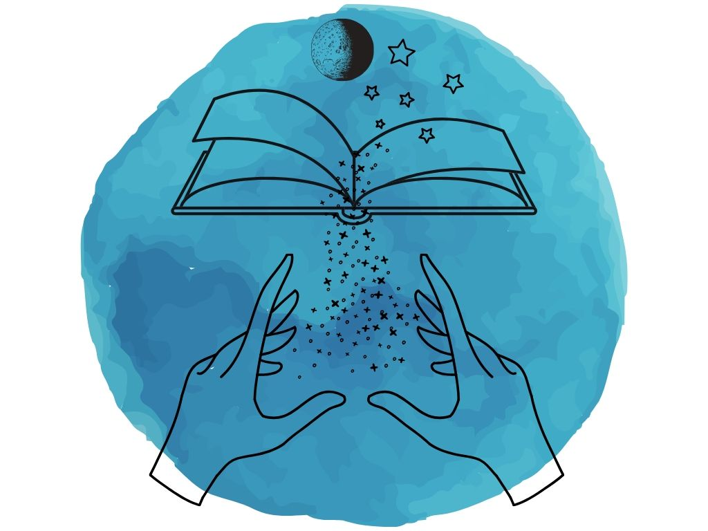 book of shadows with hands directing magic at it with the moon and stars above it