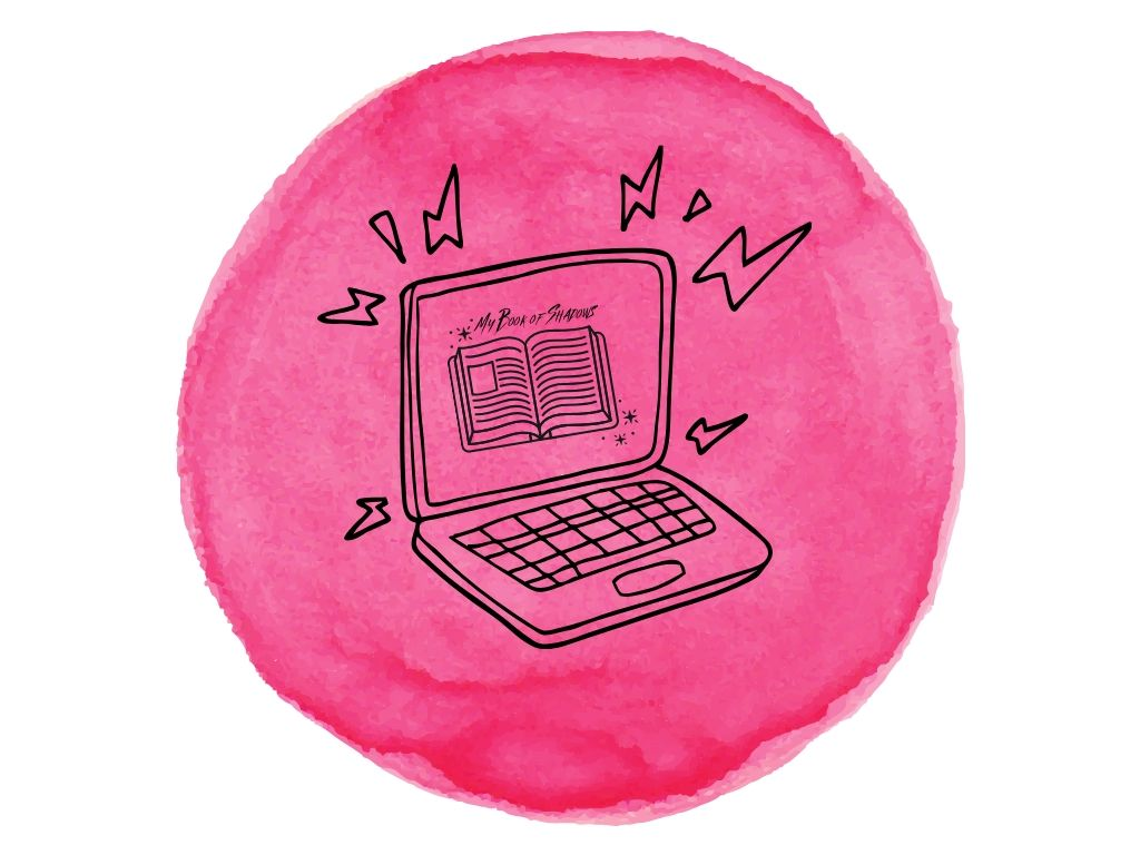laptop with book on the screen on a pink watercolour background