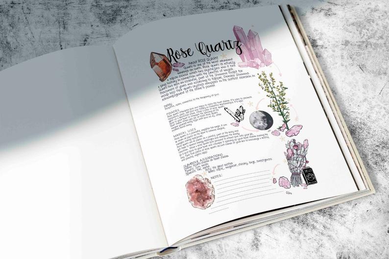 book of shadows page for rose quartz
