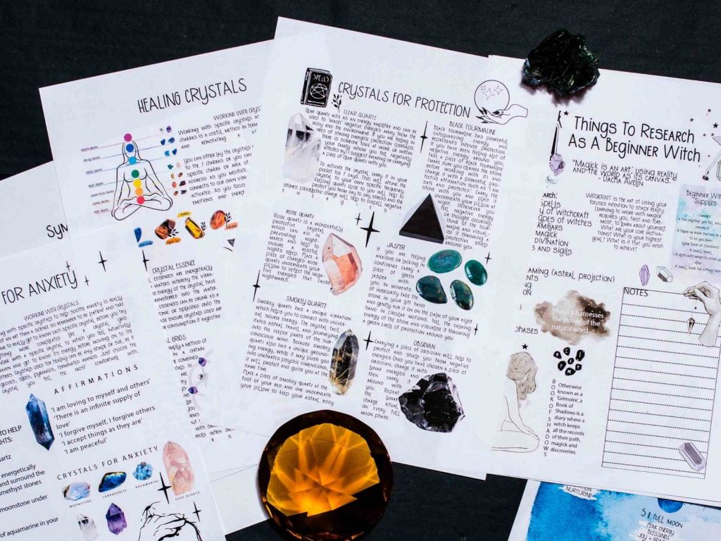 Book of shadows page for crystals for protection