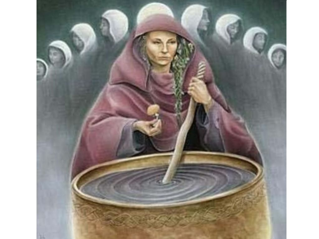 Goddess Cerridwen stirring cauldron