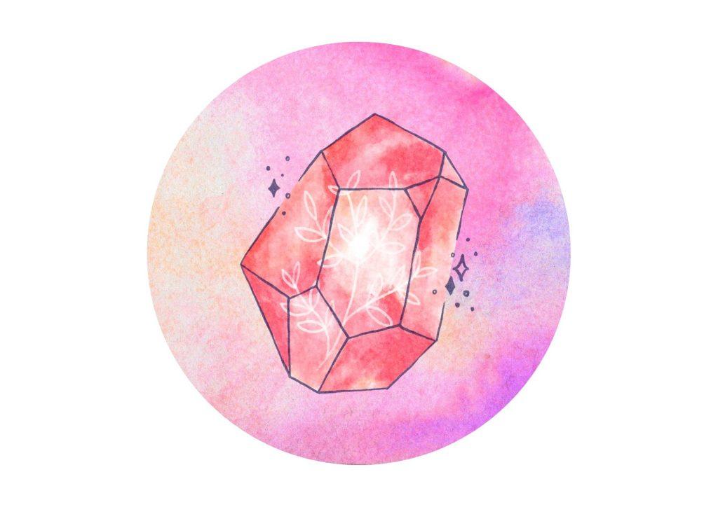 ingredients for love spells #2 rose quartz on pink background