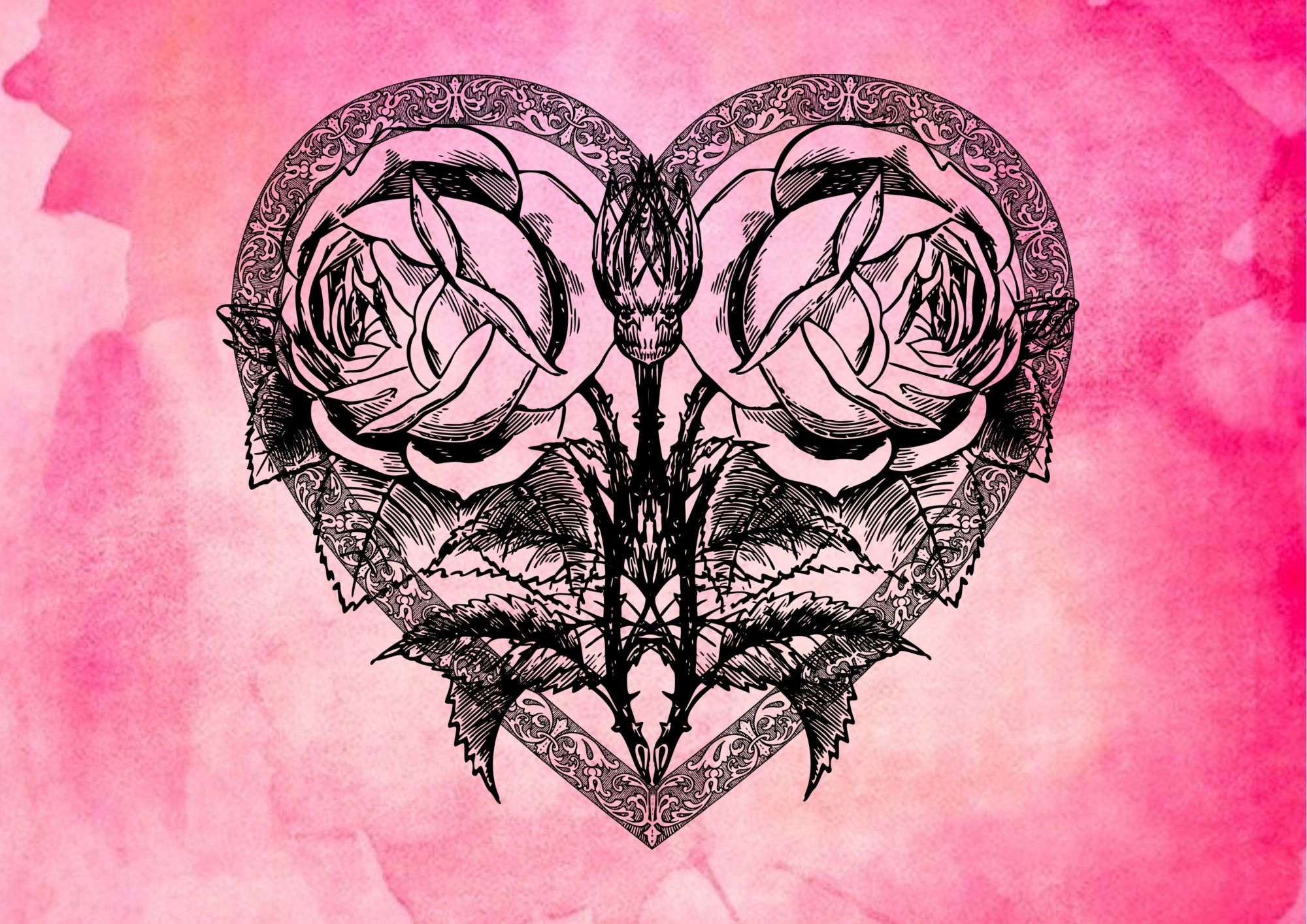 2 roses in a heart frame against a pink watercolour background