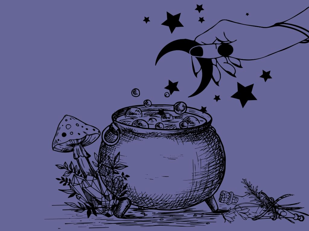 hand adding a moon and stars to a cauldron with mushrooms, crystals and a vial at the base