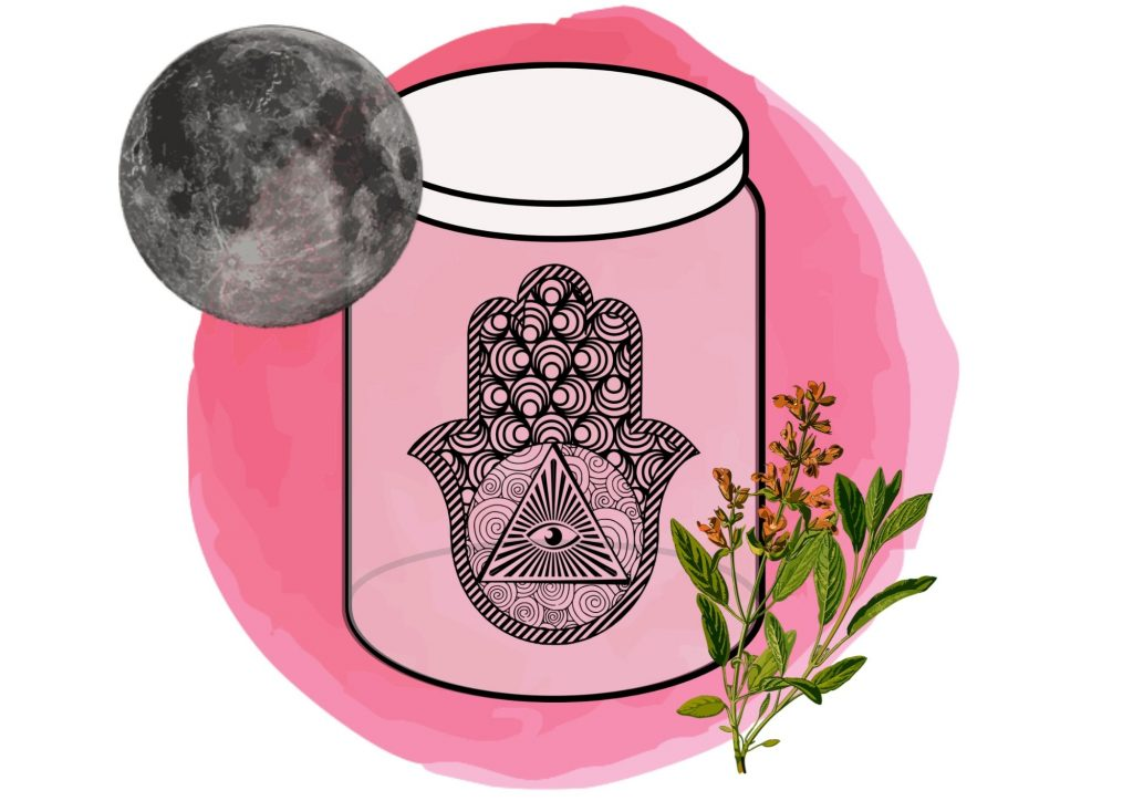 protection jar spell with moon and sage