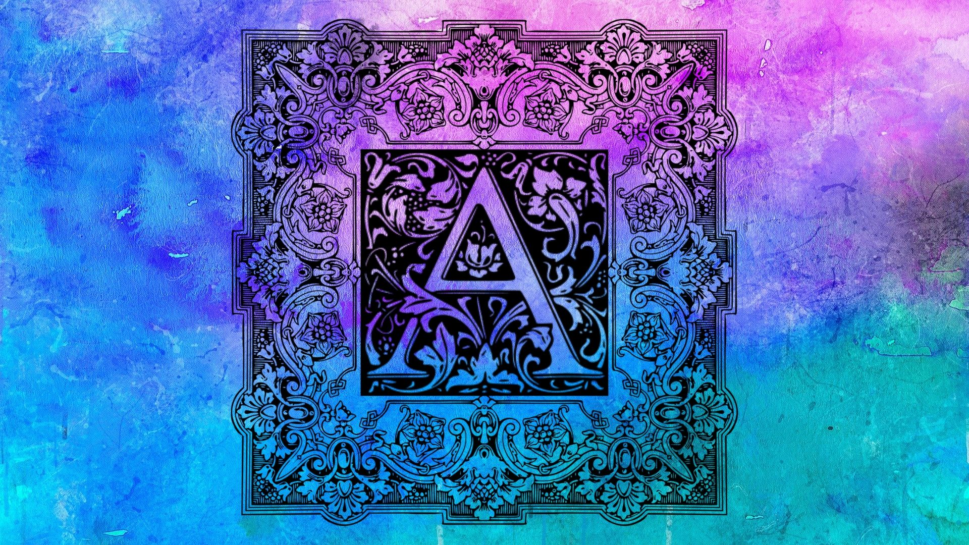 illustrated letter A with blue and purple watercolour background and floral frame