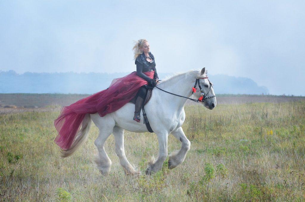 Rhiannon as woman riding a horse