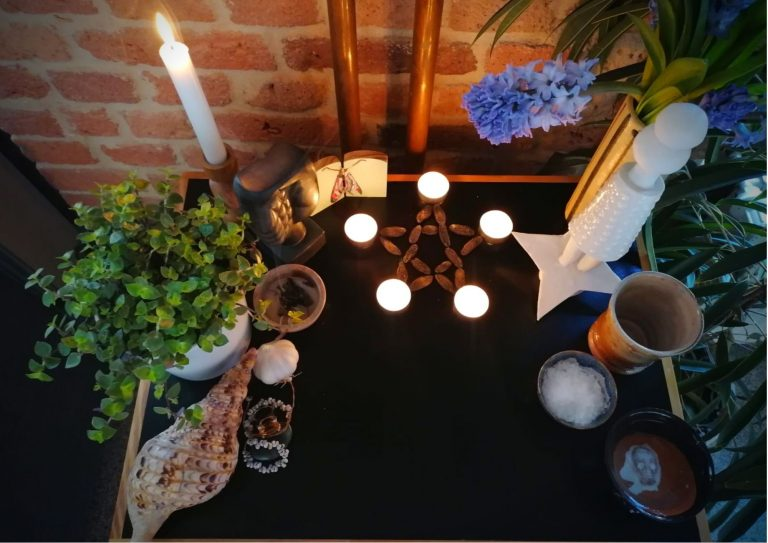 Wiccan altar set up without cloth