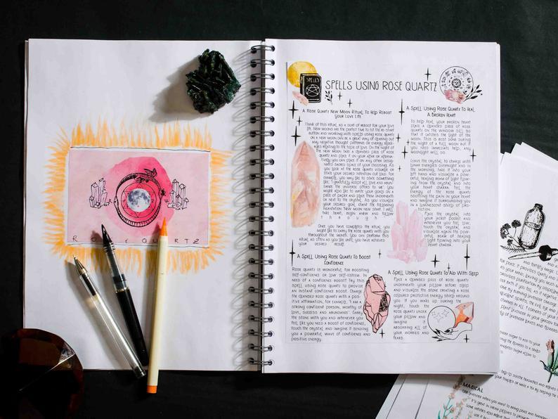 Book of shadows page spells using rose quartz