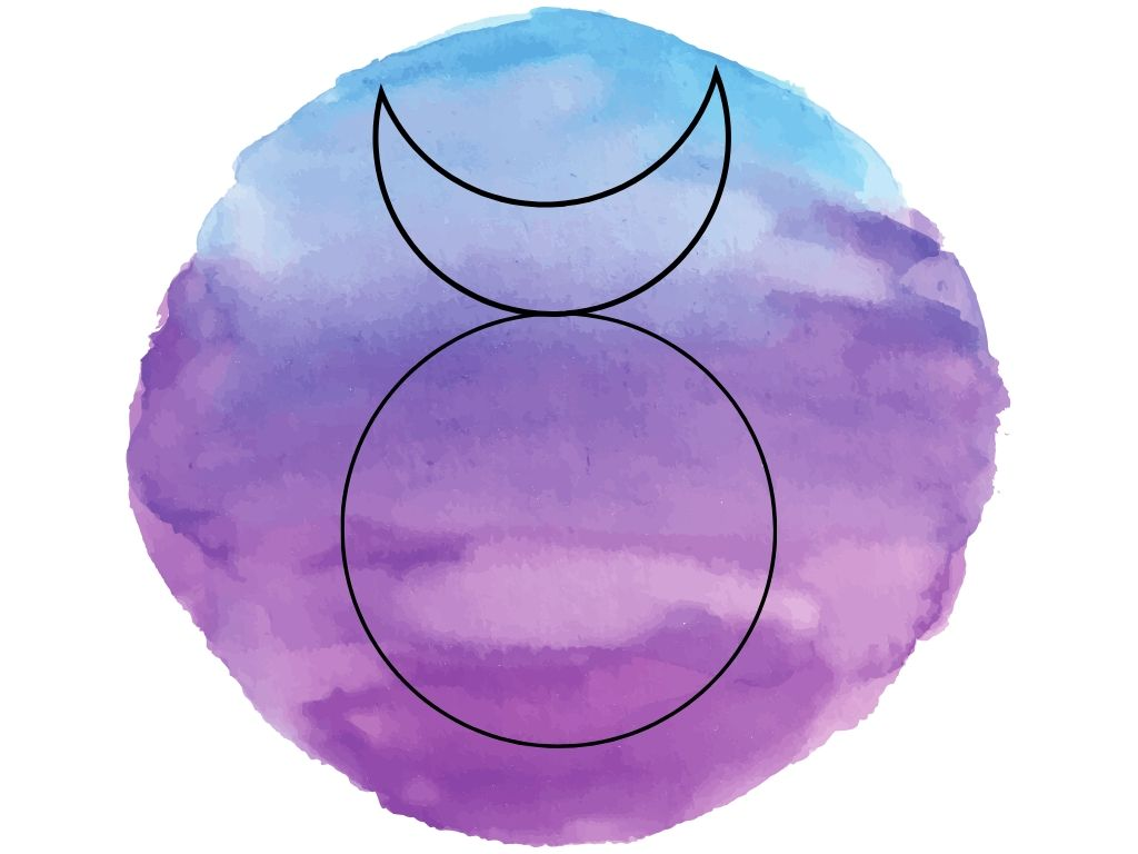 the symbol for the horned god against a watercolour background