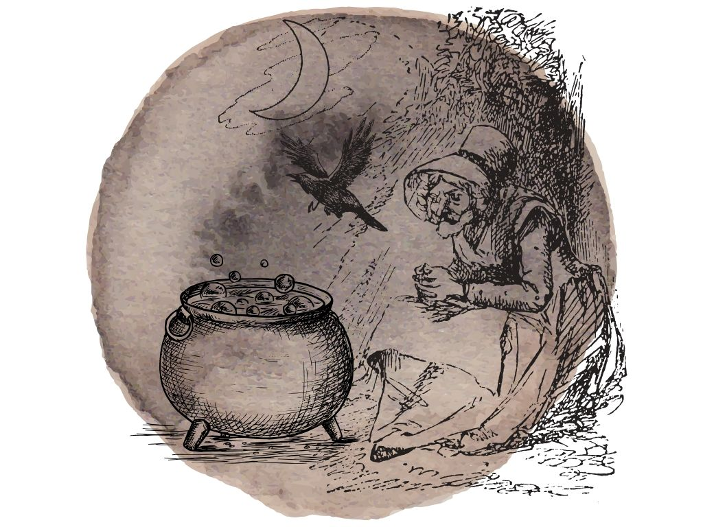 the crone aspect of the triple goddess hand drawn picture