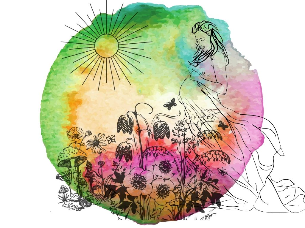 triple goddess in her mother aspect with flowers and the sun on a watercolour background