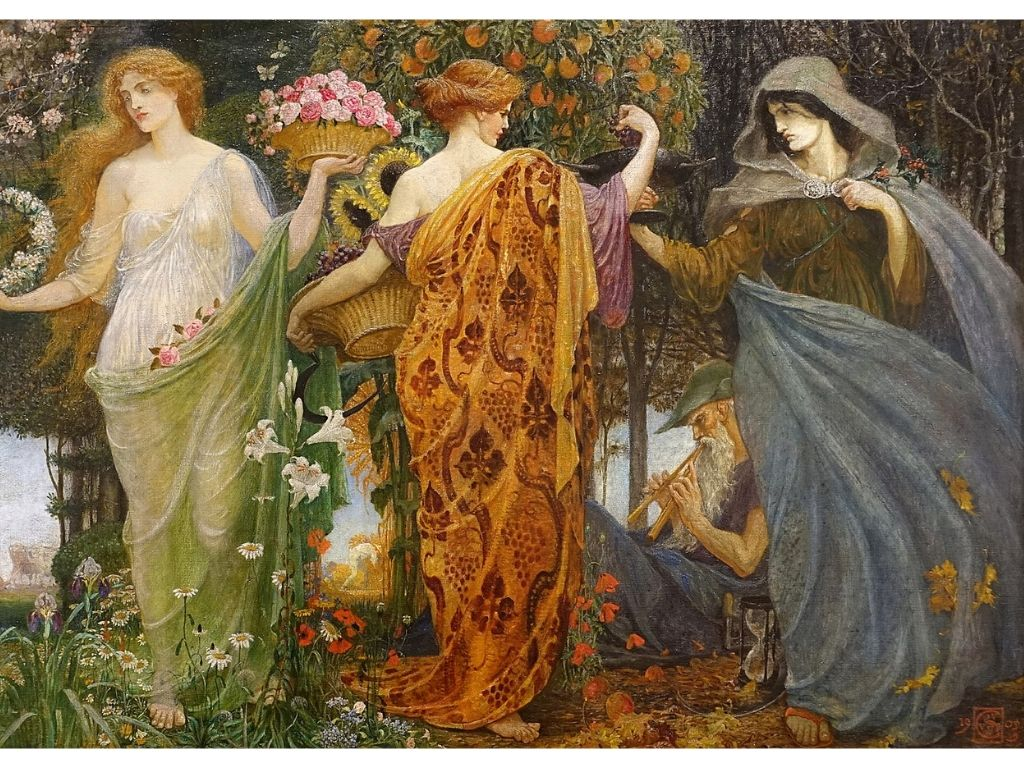 the triple goddess as painted by Walter Crane, 1905-1909