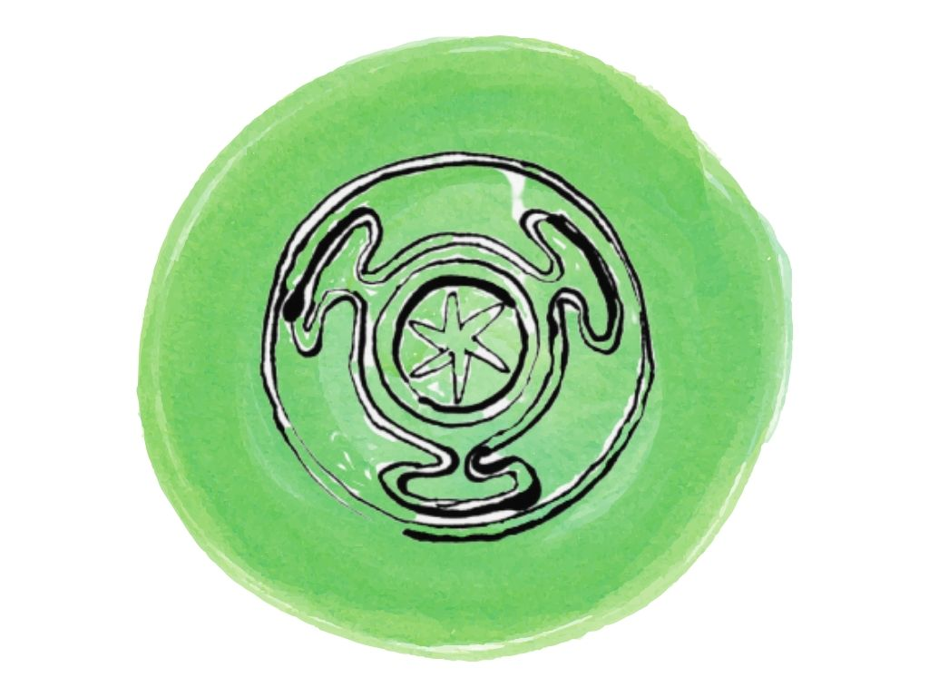 witch and wiccan symbols #13 the wheel against a green watercolour background