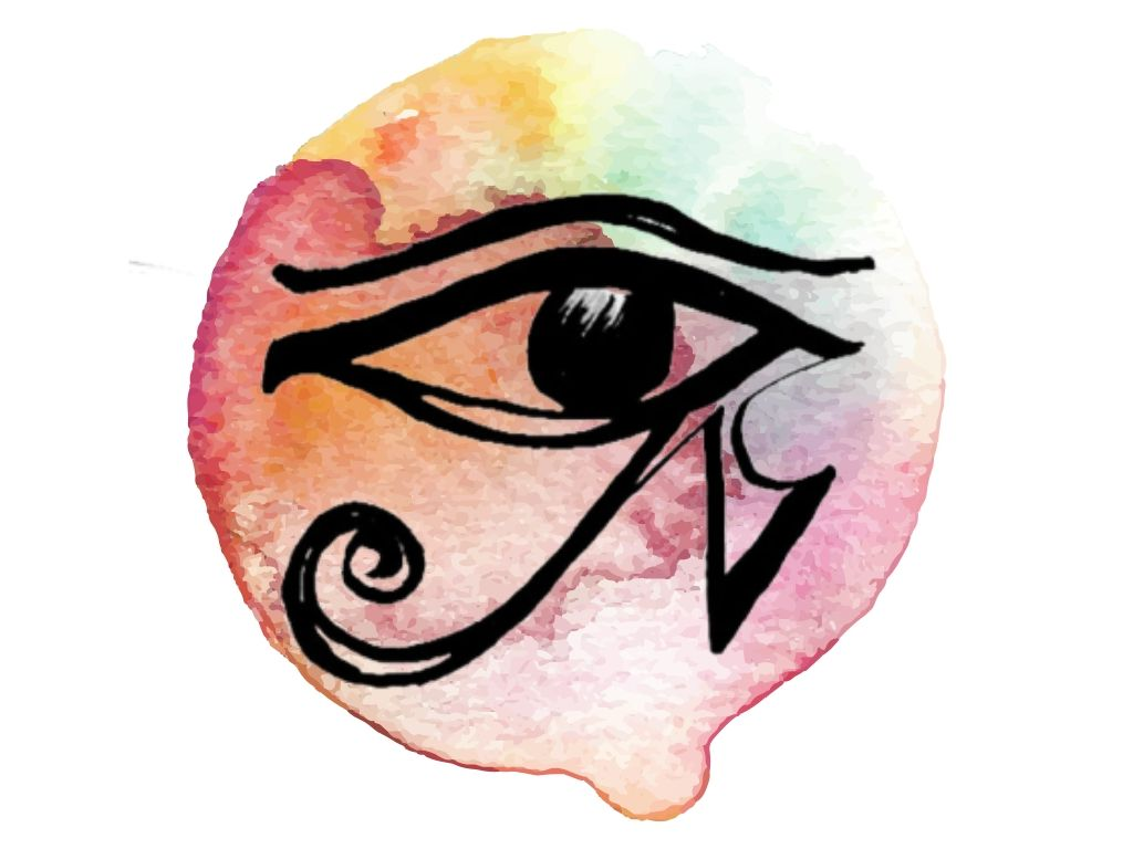 witch and wiccan symbol #2 eye of horus on water colour background