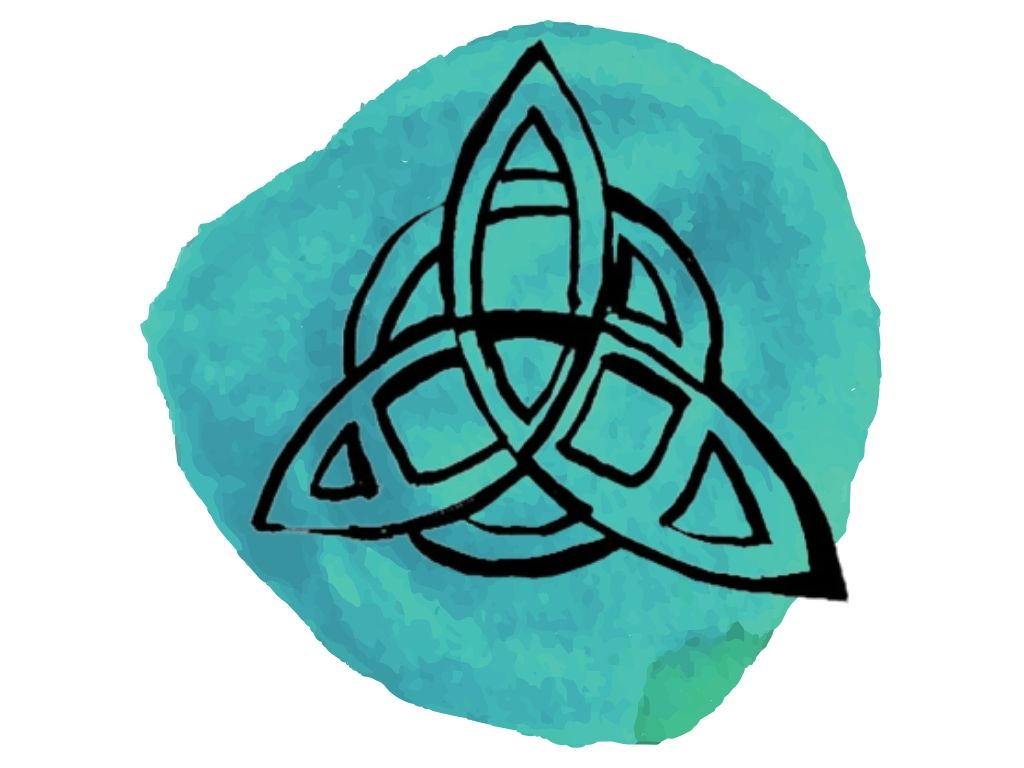witch and wiccan symbols #3 triquetra against watercolour background