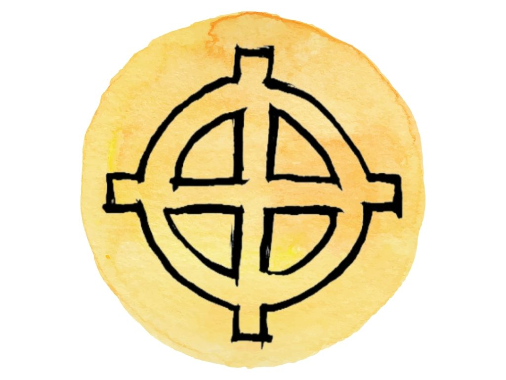 witch and wiccan symbols #5 the solar cross on yellow watercolour background